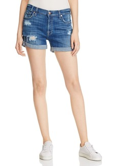 7 For All Mankind Distressed Roll Cuff Denim Shorts
