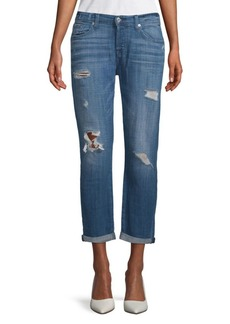 Distressed Rolled-Cuffs Jeans