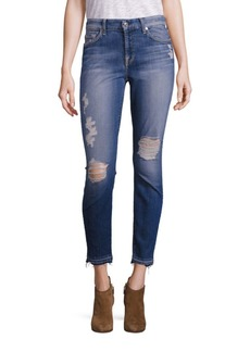 7 For All Mankind Distressed Skinny Ankle Jeans