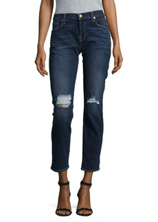7 For All Mankind Distressed Skinny Boyfriend Denim Jeans
