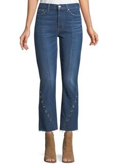 7 For All Mankind Edie Frayed Grommet-Trim Jeans