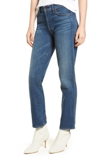 7 For All Mankind® Edie High Waist Crop Straight Leg Jeans (Montreal with Embroidery)