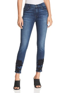 7 For All Mankind Embellished Ankle Skinny Jeans in B(air) Authentic Chance