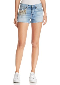 7 For All Mankind Embellished Cutoff Denim Shorts in Light Gallery Row 4