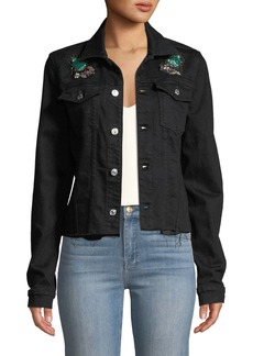 7 For All Mankind Embellished Frayed Denim Trucker Jacket