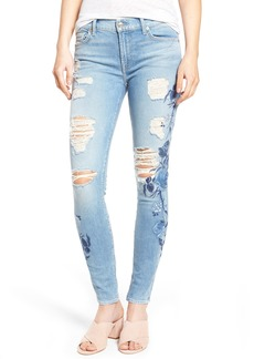 7 For All Mankind® Embroidered Ankle Skinny Jeans (Vintage Air Light)