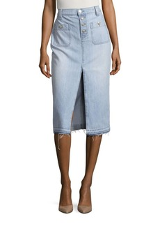 7 For All Mankind Exposed Button Long Skirt With Released Hem