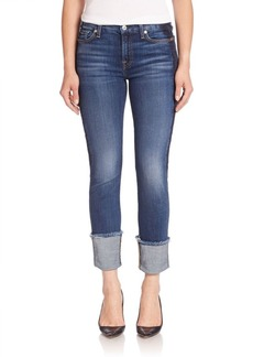 7 For All Mankind Fashion Boyfriend Cuffed Jeans With Shadow Tux Stripe