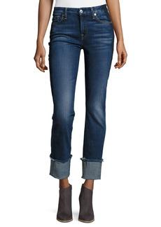 7 For All Mankind Fashion Cuffed Boyfriend Jeans w/Raw-Edge Hem