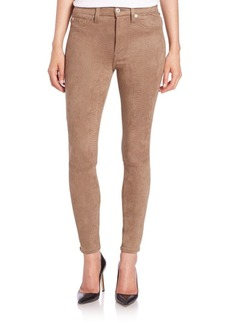 7 For All Mankind Faux Suede High-Rise Snakeskin-Print Ankle Skinny Jeans