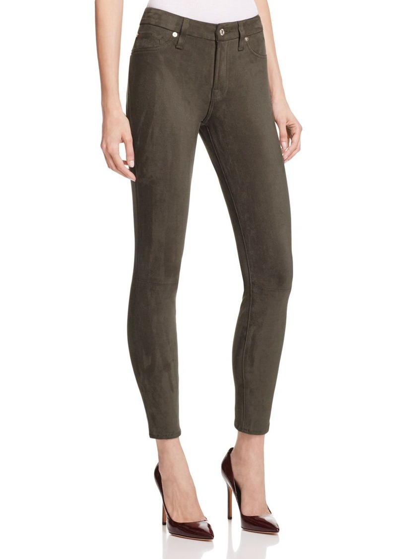 7 For All Mankind Faux Suede Skinny Jeans in Olive