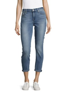 7 For All Mankind Five-Pocket Rolled-Cuff Cropped Jeans