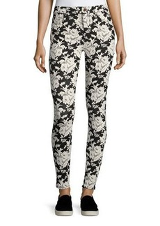 7 For All Mankind Floral-Embroidered Skinny Jeans