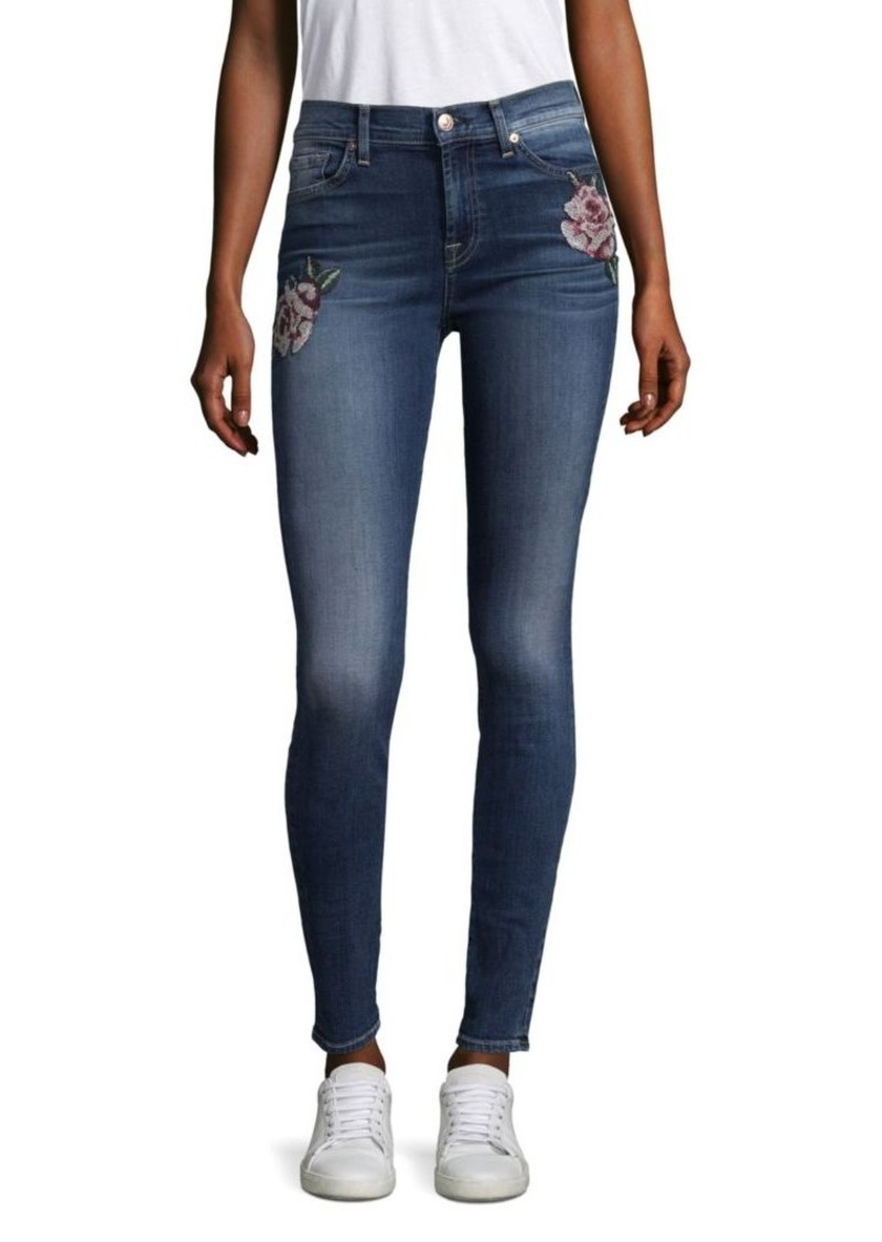 7 For All Mankind Floral Needle Point Skinny Jeans