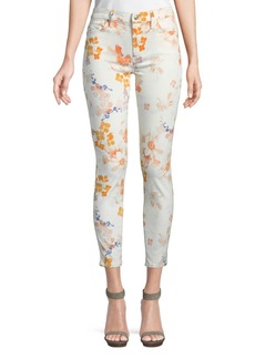 7 For All Mankind Floral-Print Ankle Skinny Jeans