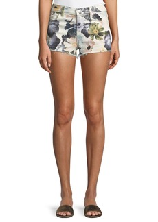 7 For All Mankind Floral-Print Cutoff Denim Shorts