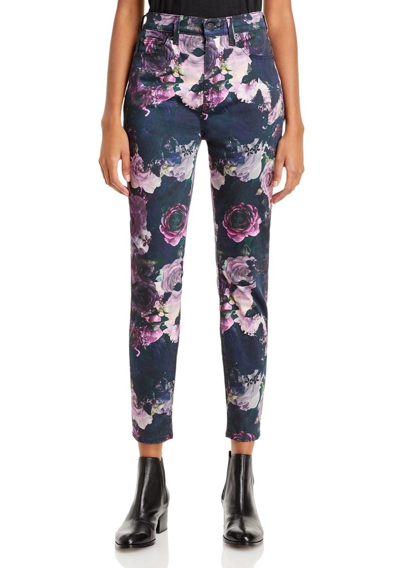7 For All Mankind Floral Print Skinny Ankle Jeans