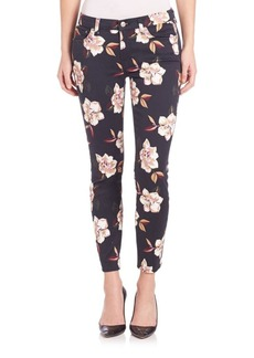 7 For All Mankind Floral Print Skinny Jeans