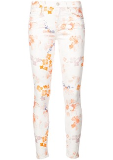 7 For All Mankind floral print skinny trousers - White