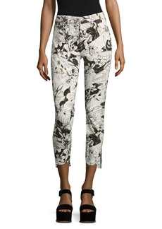 7 For All Mankind Floral-Print Step Hem Ankle Skinny Jeans