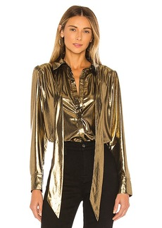 7 For All Mankind Foil Satin Blouse with Neck Tie Top