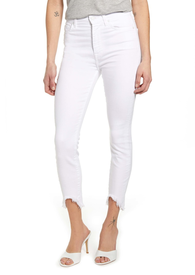7 For All Mankind® Fray Hem Ankle Skinny Jeans (Clean White)