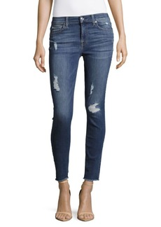 7 For All Mankind Frayed-Cuff Distressed Ankle Jeans