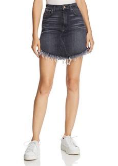 7 For All Mankind Frayed Denim Mini Skirt in Vintage Bedford Black