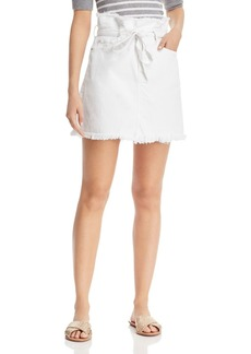 7 For All Mankind Frayed Denim Skirt in White - 100% Exclusive