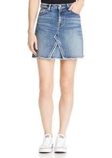 7 For All Mankind Frayed-Hem Denim Mini Skirt