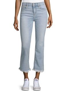 Fringe-Cuffs Cropped Jeans
