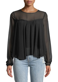 7 For All Mankind Gathered-Front Illusion Silk Blouse