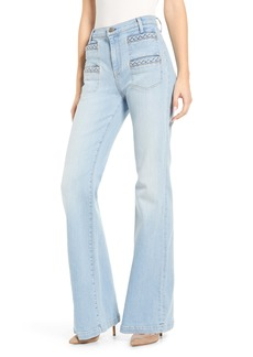 7 For All Mankind® Georgia Braided Welt High Waist Flare Jeans (Roxy Light)