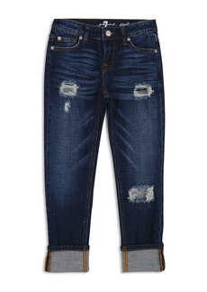 7 For All Mankind Girls' Distressed & Cuffed Dark-Wash Jeans - Big Kid
