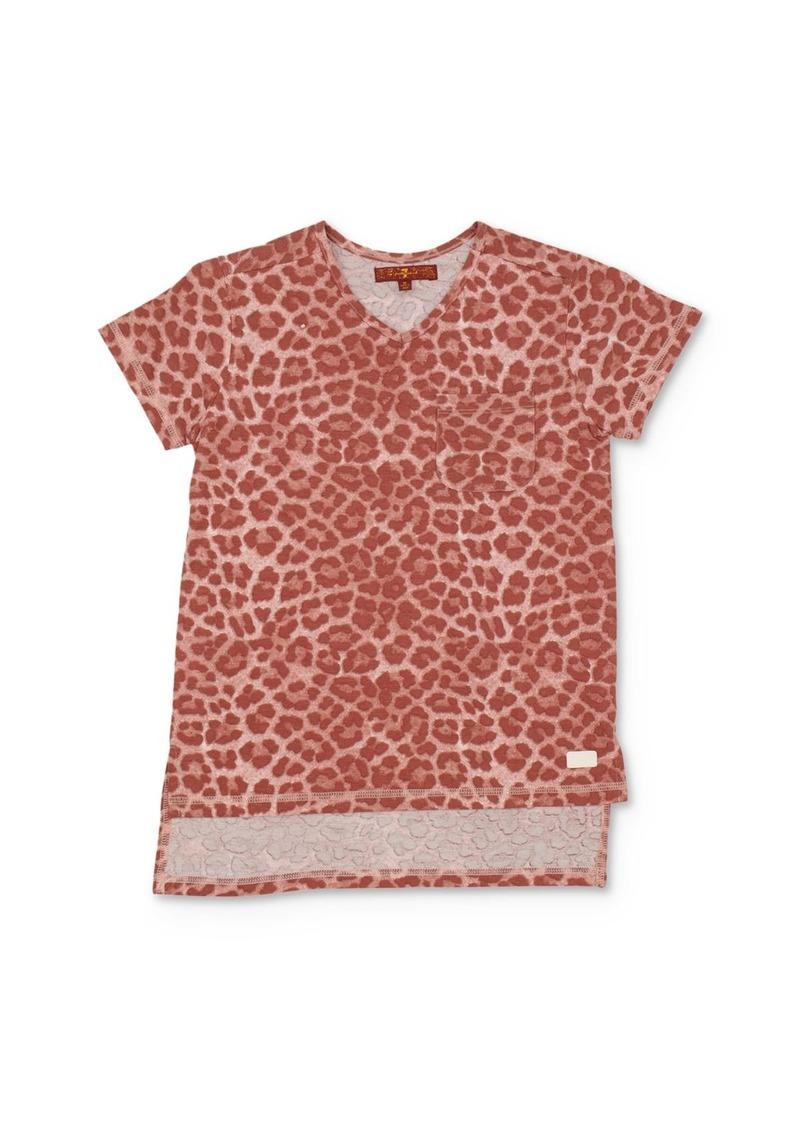 7 For All Mankind Girls' Leopard Print High/Low Tee - Big Kid
