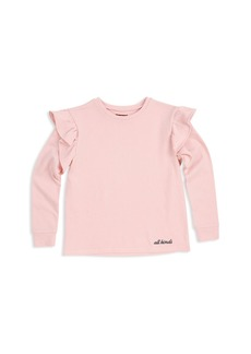 7 For All Mankind Girls' Ruffled French Terry Sweatshirt - Big Kid