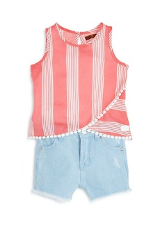 7 For All Mankind Girls' Striped Tank & Shorts Set - Little Kid
