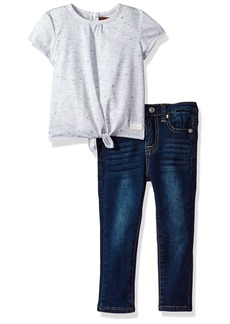 7 for all mankind Girls' Toddler Knit Top and Pant Set (More Styles Available) G3274-HeatherGrey