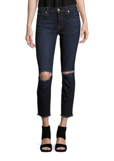 7 For All Mankind Gwenevere Cotton-Blend Cropped Jeans
