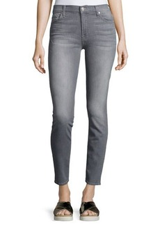 7 For All Mankind Gwenevere Gray-Wash Destroyed Ankle Jeans