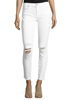 7 For All Mankind Gwenevere Skinny Ankle Jeans W/ Destroy