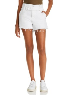 7 For All Mankind Half-Belted Denim Cutoff Shorts in Optic White