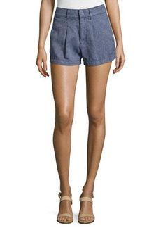 7 For All Mankind Herringbone Pleated Shorts