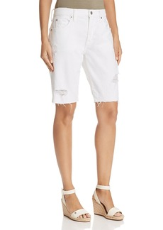 7 For All Mankind High Rise Bermuda Denim Shorts in White Fashion 4