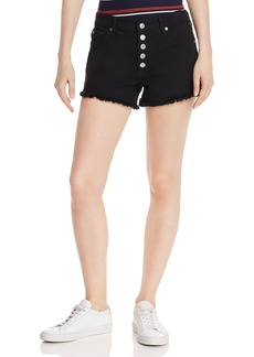 7 For All Mankind High-Rise Cutoff Denim Shorts in Pitch Black 2