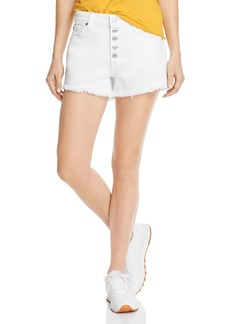 7 For All Mankind High-Rise Cutoff Denim Shorts in White Runway Denim