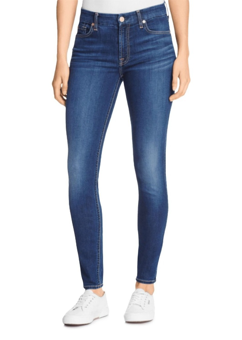 7 For All Mankind High Waist Ankle Skinny Jeans in Blue