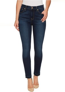 7 For All Mankind High Waist Ankle Skinny w/ Released Hem in Victoria Blue
