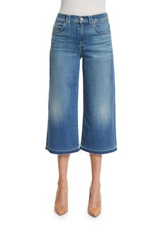 7 For All Mankind High-Waist Denim Culottes W/Released Hem