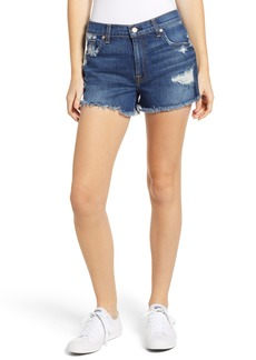 7 For All Mankind® High Waist Destroyed Cutoff Denim Shorts (Blue Monday)